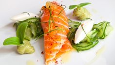 Marinated Salmon with Wasabi-Cucumber Salad & Avocado Purée - By Björn Freitag