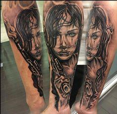 #perystyle #tattoo #chicano tattoo #blackngrey #face #woman gun tattoo #art