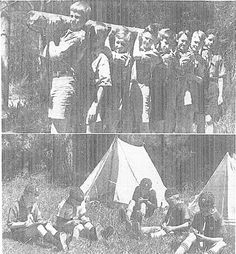 THE BEST WAY TO SPEND THE SUMMER.—Upper: Boy Scouts in camp at Green Bay, Manukau, carry in a log for firewood. Lower: Lone Wolf Cubs, who learn their cubbing by correspondence, in camp for the first time. Lone Wolf And Cub, Nz History, Boy Scouts, Auckland, Green Bay, New Zealand, Past, January, Boys