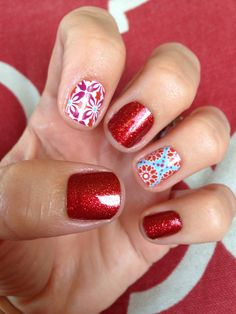 Blooming splendor and red sparkle-another popular jamicure I did.   www.apriltorres.jamberrynails.net