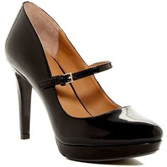 Calvin Klein Paislie Mary Jane Pump ($60) ❤ liked on Polyvore featuring shoes, pumps, heels, black, black platform pumps, black stilettos, high heel stilettos, black strappy pumps and black stiletto pumps