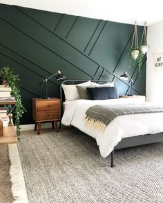 Green Bedroom, Green Accent Wall, Boy Bedroom Design Inspo