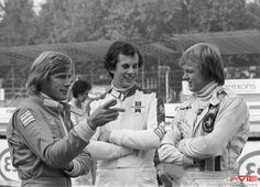 James Hunt, Tony Brise and Ronnie Peterson Italian GP, Monza, 7 September 1975