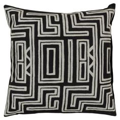 Check out this item at One Kings Lane! Tribal Embroidered Pillow, Black
