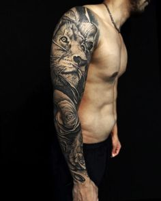 Tatuagens braço Lion Sleeve, Lion Tattoo Sleeves, Full Sleeve Tattoos, Forearm Sleeve Tattoos, Lion Tattoo Meaning, Lion Tattoo Design, Tattoo Designs, Badass Tattoos, Cool Arm Tattoos