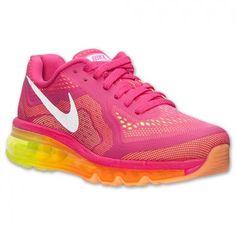 Tênis Nike Air Max Women's 2014 Running Shoes Vivid Pink White Atomic Mango Volt #Tênis #Nike