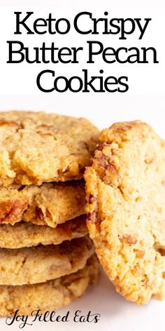 These Butter Pecan Cookies live up to their name. They are buttery & chock full of pecans. They are crisp, sweet, & are the perfect sweet bite after supper. Keto Cookies, Butter Pecan Cookies, Chocolate Chip Cookies, Salted Butter, Desserts Keto, Keto Dessert Easy, Keto Snacks, Dessert Recipes, Keto Foods