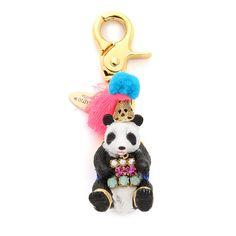 Lenora Dame Panda Bag Charm ($66) ❤ liked on Polyvore featuring jewelry, pendants, multi, lenora dame, lenora dame jewelry, panda bear charm, charm jewelry and charm pendant