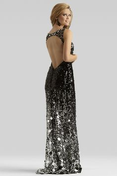Rita: December 21 Bonfire Ball Gown: Clarisse 2014 Black-SIlver Boat-Neck Sheer Sequined gown