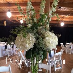 #reception #larkspur #hydrangea #tallcenterpiece