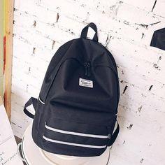 ea1667dfc8 black Korean backpack women teenage girls school bags nylon black solid  high school back pack female bagpack 2019 new