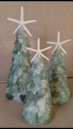 sea glass Christmas trees