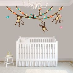 Swinging Monkeys on Vines Wall Decal, Vinyl Wall Decal, Monkey and Toucan Wall Decal, Gender Neutral, Pure Happiness Design with Toucans. $66.00, via Etsy.