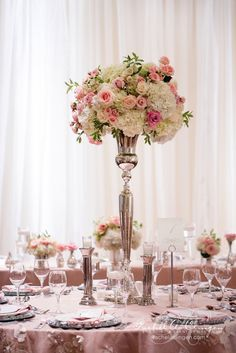 Gorgeous Wedding Flower Ideas Julie centerpiece style Jaw-Dropping Gorgeous Wedding Flower Ideas - Featured Event Design: Rachel A. Featured Photographer: Lee Mann PhotographyThe Idea The Idea may refer to: Pink Wedding Receptions, Wedding Reception Centerpieces, Floral Centerpieces, Floral Arrangements, Wedding Events, Wedding Bouquets, Wedding Decorations, Tall Centerpiece, Centrepieces