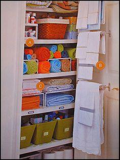 Linen Closet Organization Inspiration : baskets + wire helper shelves