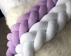 Braided Cushion - Crib Bumper (braided crib bumper, bedding, baby bedding, nursery decor, knot pillow, knot cushion)