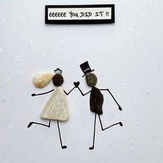 Wedding Card Pebble Art beach theme card stone art pebble