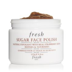 fresh SUGAR FACE POLISH made with real strawberry seeds. Love this product.