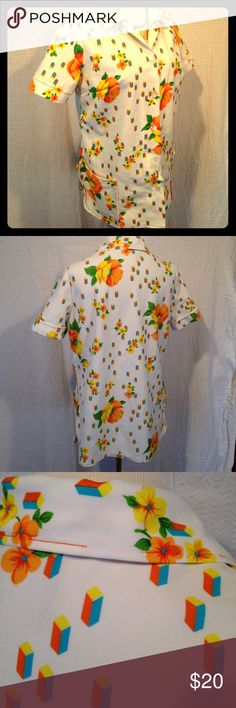 1970s vintage polo floral This 1970s vintage polo is in good used condition. Has some places around the collar where the stitching has come undone. Has no size tag, but the material is thick and ridiculously awesome. White with yellow and orange flowers. Button up Please see photos for measurements. Please ask any questions before purchasing. Vintage Tops Button Down Shirts
