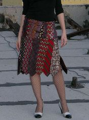 Skirt made from mens neck ties.