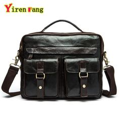 (48.95$)  Buy here - http://aip64.worlditems.win/all/product.php?id=32785680597 - Genuine Leather Bags For Men Messenger Bags Retro Crazy Horse Paper Shoulder Bags Famous Brands handbags Crossbody business