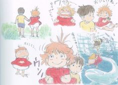 Enjoy a collection of Concept Art from Studio Ghibli Ponyo, featuring Character, Layout, Prop & Background Design. Storyboard, Studio Ghibli Art, Walt Disney, Girls Anime, Ghibli Movies, Cartoon Sketches, Hayao Miyazaki, Fan Art, Totoro