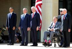 4/25/13: The five living U.S. presidents gather for the opening of the George W. Bush Presidential Library and Museum. From left to right: Obama, Bush, Jr., Clinton, Bush, Sr., and Carter.