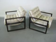 Stunning Pair Of Mid Century Modern Milo Baughman Lounge Chairs
