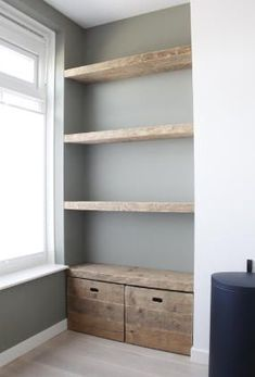 Shelves in a niche - Van Oud Hout furniture maker - 11942 , Home Decor Furniture, Home Living Room, Home Projects, Shelving, New Homes, House Design, House Styles, Plywood Shelves, Basement