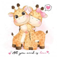 Family Illustration, Cute Illustration, Watercolor Illustration, Baby Animal Drawings, Cute Drawings, Doodles Bonitos, Baby Animals, Cute Animals, Giraffe Family