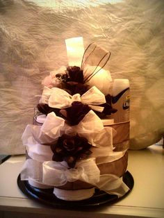 wedding or bridal toilet paper cake.  themed to brides colors.