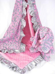 Satin Ruffle Minky Baby Blanket in Gray and Hot Pink Vine. $47.50, via Etsy.