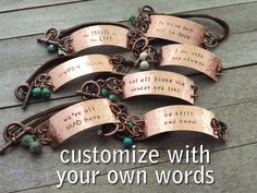 Custom Hand Stamped Bracelet - Your Own Quote or Words - Copper Leather Bracelet - Personalized Gift by ATwistOfWhimsy on Etsy https://www.etsy.com/listing/242288390/custom-hand-stamped-bracelet-your-own