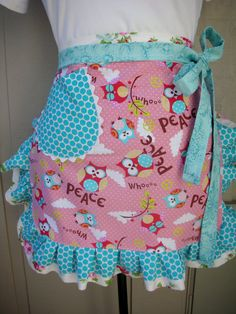 Aprons with owl fabrics - Pink and Blue Owl Apron - Ruffled Owl Apron