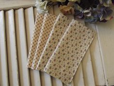 "Set of 4 2 ply Cotton 8"" Everyday Cloth Napkins Shabby Roses Print"