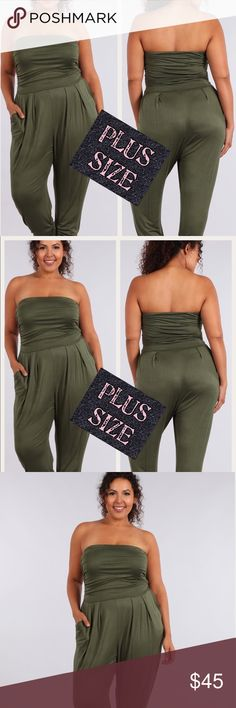 🤩Olive Green Jumpsuit🤩 Sexy jumpsuit. All the rage this season. Olive green which is so pretty.   Comes in black too. Sizes 1X, 2X, and 3X. Pants Jumpsuits & Rompers