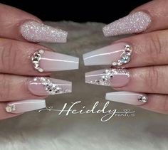 63 ideas for wedding nails ideas french glitter bling Wedding Nails For Bride, Bride Nails, Wedding Nails Design, French Nails Elegant, French Tip Nails, French Tips, Gem Nails, Diamond Nails, Diamond Nail Designs
