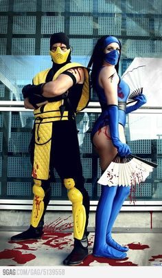 Scorpion and Kitana - Great couple costume idea! This type of costume can typically be bought at Halloween stores, but if you're feeling adventurous, you could totally make it. Definitely gotta add lots of blood! FATALITY! - COSPLAY IS BAEEE!!! Tap the pin now to grab yourself some BAE Cosplay leggings and shirts! From super hero fitness leggings, super hero fitness shirts, and so much more that wil make you say YASSS!!!