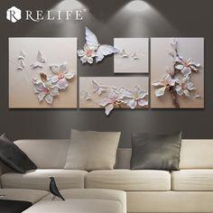Wall Painting Decor, Mural Wall Art, Home Decor Paintings, Art Paintings, Plaster Sculpture, Sculpture Painting, Modern Oil Painting, Butterfly Wall Art, Living Room Art