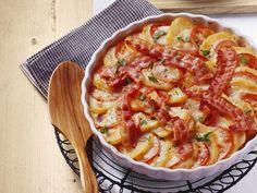 Aardappeltaart met tomaat en spek