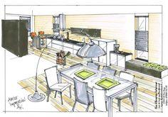 Langgerekte keukenruimte in Den Haag. Keuken en tafelen op 1 verdieping
