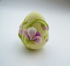 Handmade Easter Egg made and design by me from 100% wool. Its a needle felted technique. Warmth, cozy, beautiful and unique gift or home decoration. Every Easter wool ornament is wrapped in an individual pretty box and ready for a gift. Listing is 1 needle felted egg. The Eggs is not a