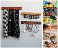 40 Brilliant DIY Organization Hacks via Brit + Co. DIY Wooden Bungee Organizer: This is just plain fun. Why settle for a boring shelf when you can easily make these? (via Brit + Co. Organisation Hacks, Storage Hacks, Diy Organization, Cord Storage, Diy Storage, Hanging Storage, Wall Storage, Storage Ideas, Headphone Storage