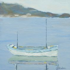 Happily Moored ~ soft blues ~ original painting, boat and water http://janetbludau.fineartstudioonline.com/