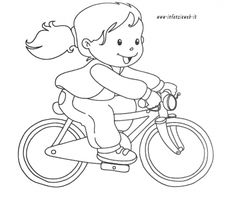 bambina_in_bici Coloring For Kids, Coloring Pages, Penny Black Stamps, Cartoon Drawings, Smurfs, Back To School, Stencils, Disney Characters, Fictional Characters