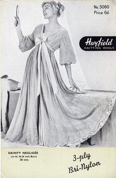 1950s Ladies Negligee / Dressing Gown Knitting by vintageparlourjj, £4.50
