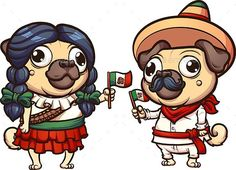 Cartoon pugs dressed with Mexican Revolution clothes. Vector clip art illustration with simple gradients. Some elements on separat