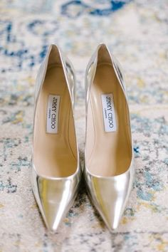 Classic wedding shoes for bride - gold Jimmy Choo heels {Daidri Smythe Photography}