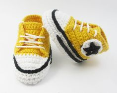Giallo scarpe da ginnastica bambino Converse Crochet, Crochet bambino scarpe, Crochet Baby Booties, Baby Boy Shoes, scarpette per neonati, per il bambino 0-3, 3-6 BB102