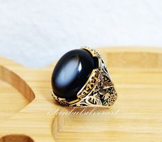 Personalized Ring cz Blue-Agate Stone Falcon Jewelry Sterling Silver Men Ring Steel Pen Craft Handmade
